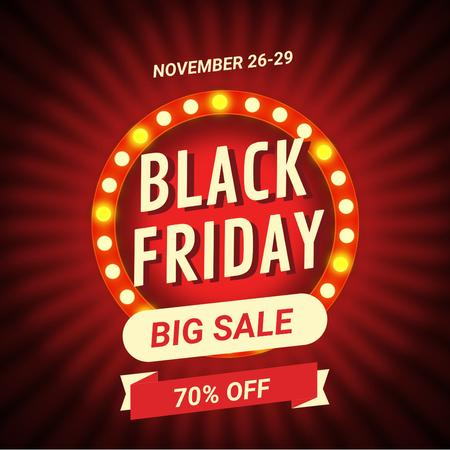 Plantilla de diseño de Black Friday Ad with Flickering lamps in circle Animated Post