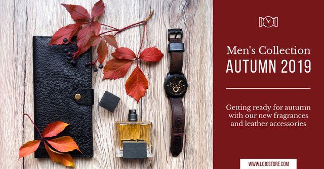 Autumnal Men's Collection Ad Leather Wallet Facebook AD – шаблон для дизайну