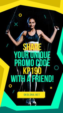 Gym Ticket Offer with Woman Jumping Instagram Story Modelo de Design