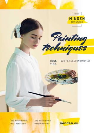 Template di design Painting Courses with Girl Holding Brush and Palette Poster