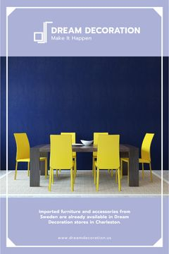 Design Studio Ad Kitchen Table in Yellow and Blue