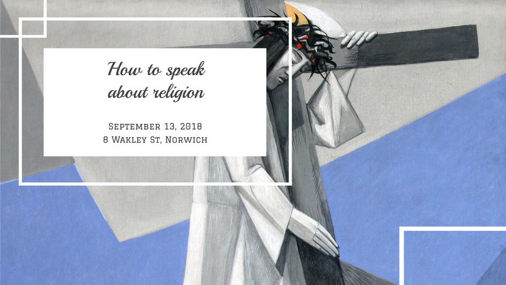 Designvorlage Religious Event Invitation with Christian Cross für FB event cover