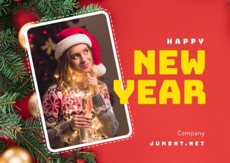Designvorlage Happy New Year Greeting Woman with Champagne für Card