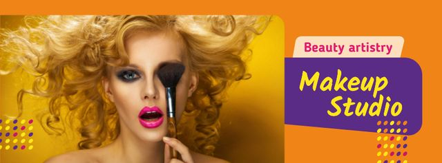 Makeup Course Ad Attractive Woman holding Brush Facebook cover Tasarım Şablonu