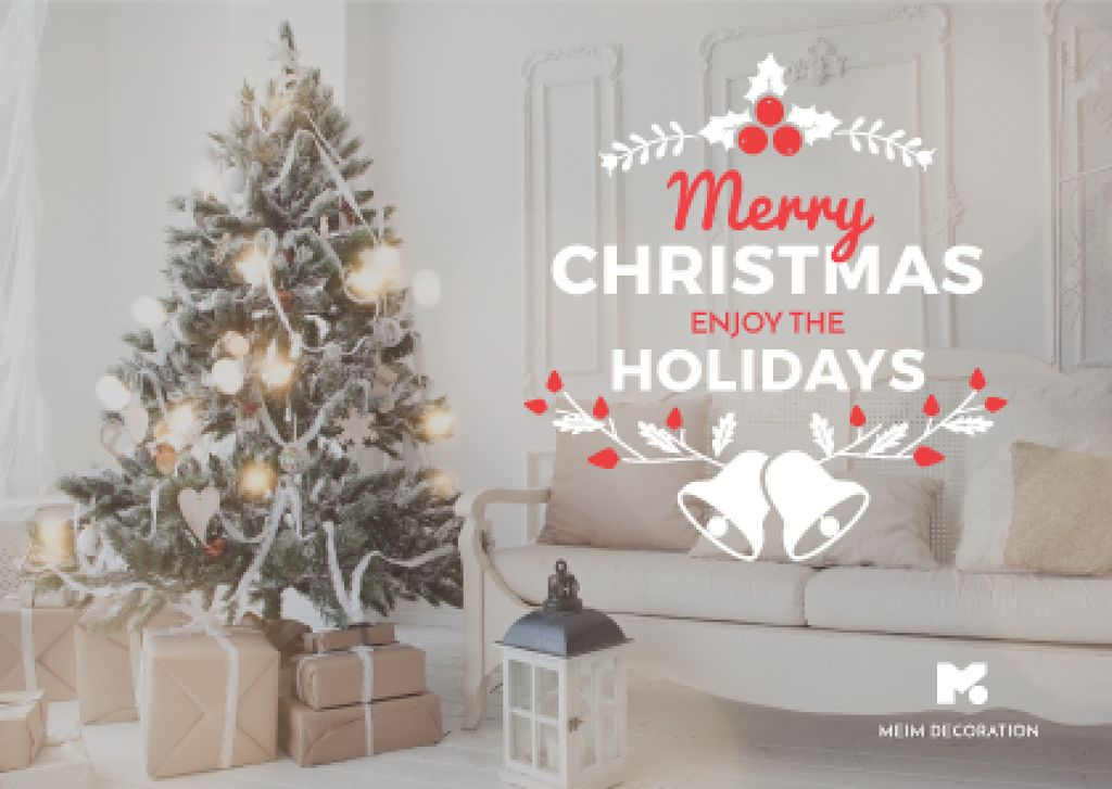 Merry Christmas Greeting with Decorated Tree in Room — ein Design erstellen