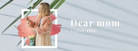Modèle de visuel Mother's Day Greeting Girl with Flowers Bouquet - Facebook Video cover