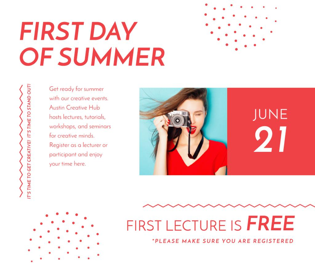 Girl with camera for on First day of summer — Crear un diseño