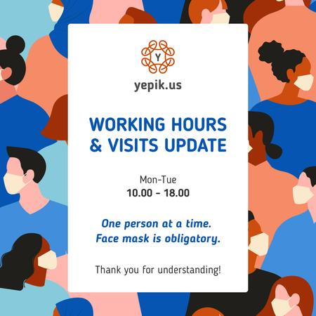 Template di design Working Hours Rescheduling with people in masks Instagram