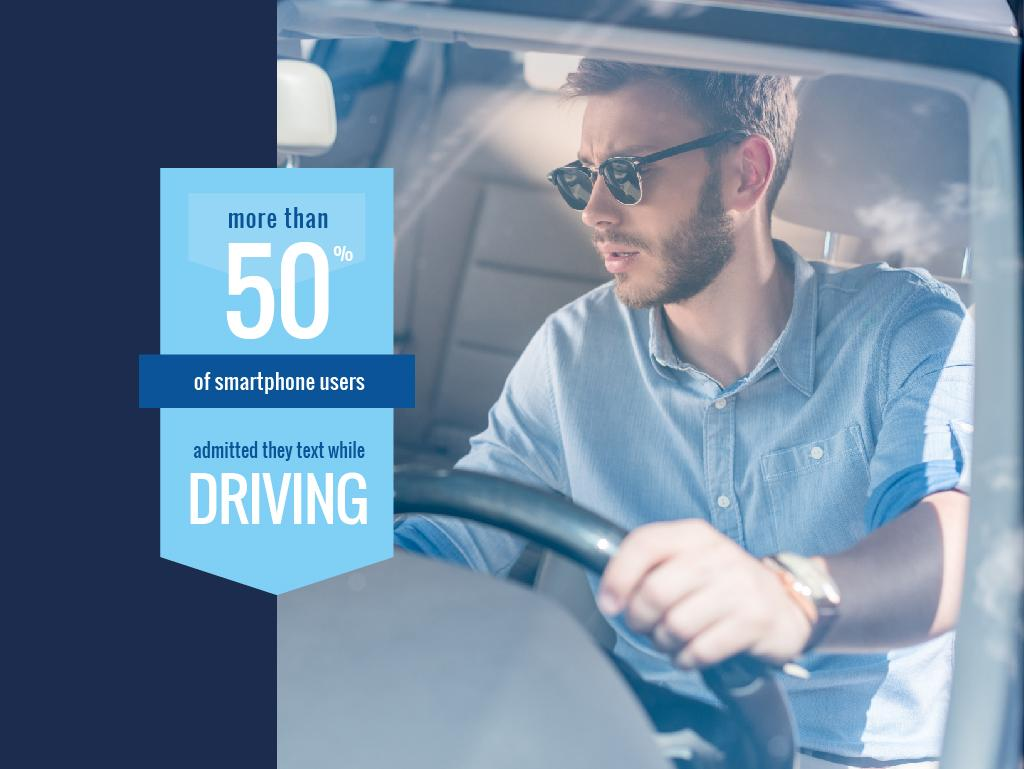 Texting While Driving Awareness Man in Car | Presentation Template — Créer un visuel