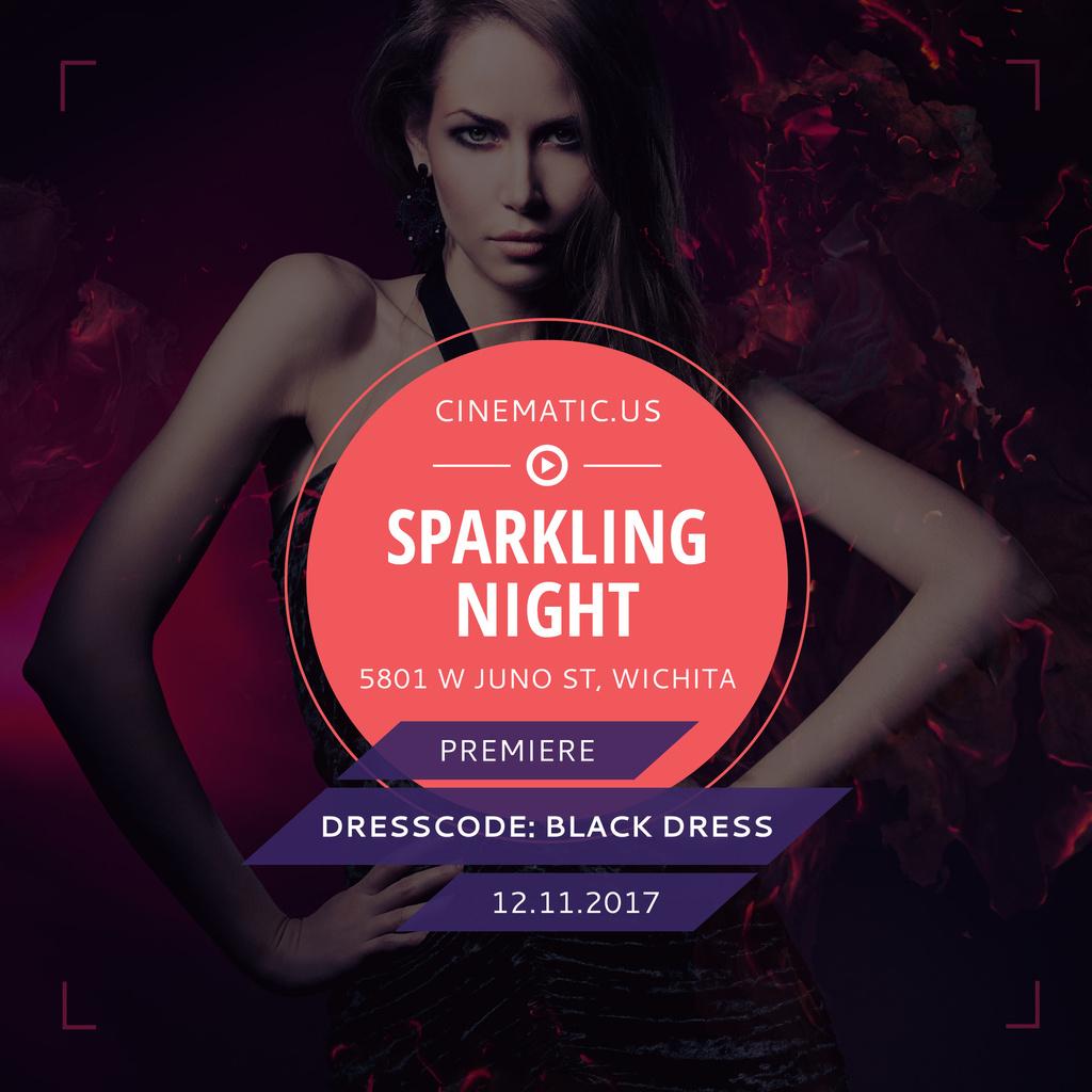 Night Party Invitation Woman in Black Dress — Crea un design