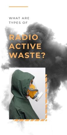 Radioactivity concept with Man in protective mask Graphic Tasarım Şablonu