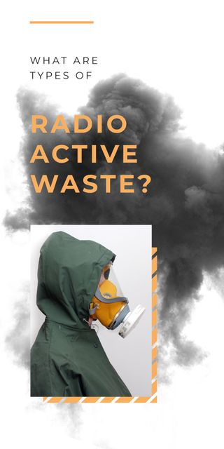 Radioactivity concept with Man in protective mask Graphic Design Template