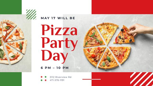 Plantilla de diseño de Pizza Party Day Invitation Taking Slice of Pizza FB event cover