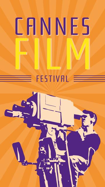Plantilla de diseño de Cannes Festival with Man shooting a movie Instagram Story