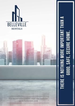 Designvorlage Real Estate Advertisement with Modern City Skyscrapers für Poster
