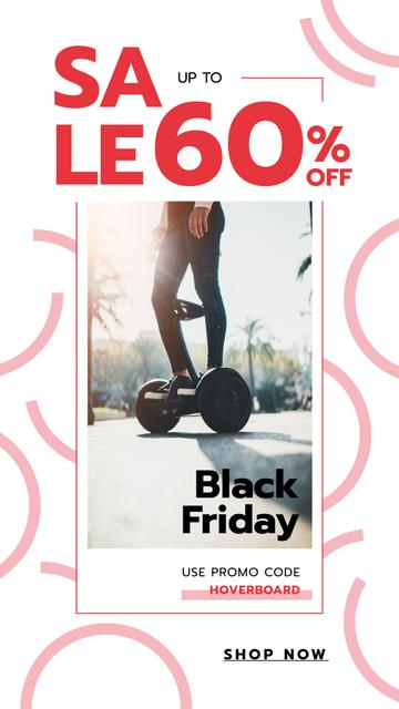 Black Friday Sale Man on Self-Balancing Board Instagram Story – шаблон для дизайна