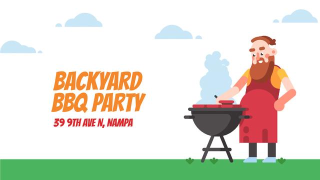 Barbecue Invitation Man by Grill Full HD video Tasarım Şablonu