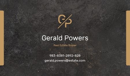 Modèle de visuel Real Estate Agent Services with Marble Black Texture - Business card