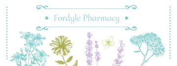 Pharmacy Ad with Natural Herbs Sketches | Facebook Cover Template
