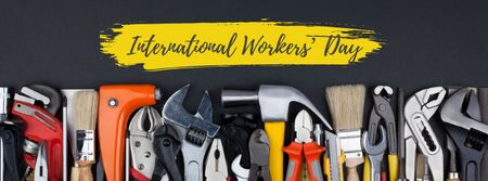 Plantilla de diseño de Happy International Workers Day Facebook cover