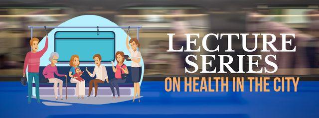 People in subway train Facebook Video cover – шаблон для дизайна