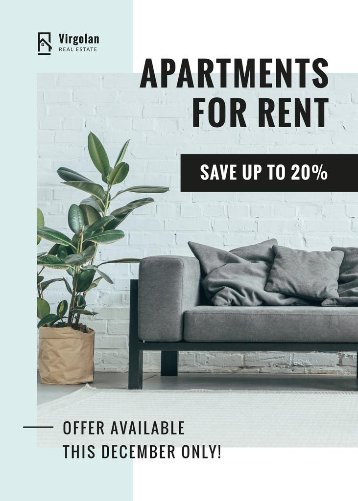 Real Estate Rent Offer Sofa in Room — Create a Design