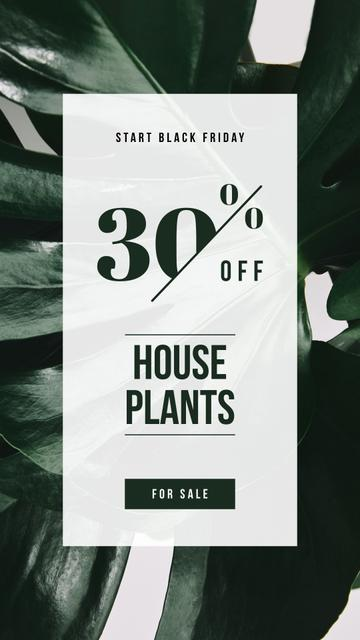 Plantilla de diseño de Black Friday Ad Green plant leaves Instagram Story