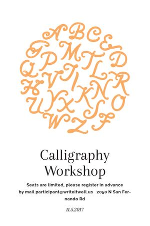 Calligraphy Workshop Announcement Letters on White Tumblr Tasarım Şablonu