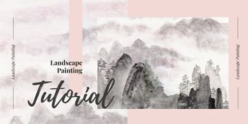 Landscape Painting Courses Ad with Scenic Snowy Mountains