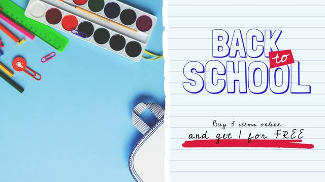 Back to School Sale Stationery in Backpack Full HD videoデザインテンプレート