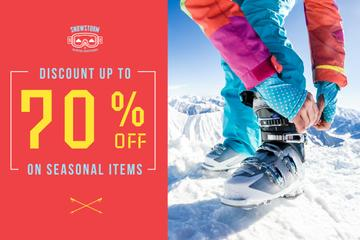 Winter Sports Equipment on Man in Mountains | Gift Certificate Template