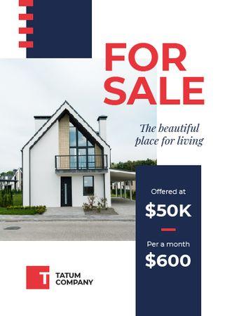 Real Estate Ad Cozy House Facade Flayer Design Template