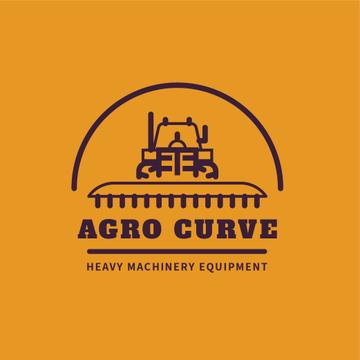 Heavy Machinery Harvester Working in Field | Logo Template