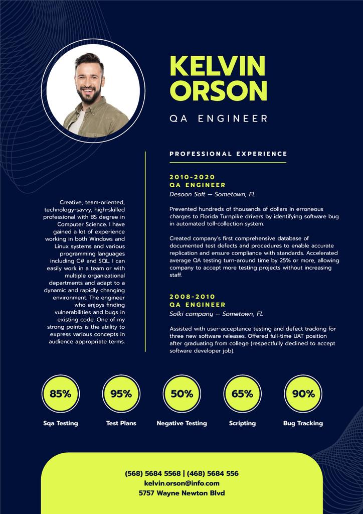 Plantilla de diseño de Professional QA Engineer profile Resume