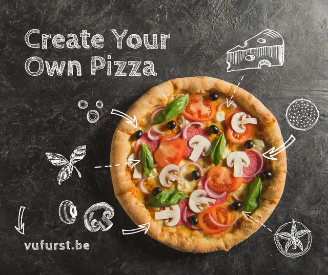 Plantilla de diseño de Italian Pizza menu promotion  Facebook