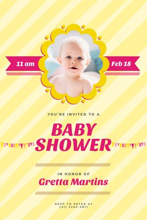 Plantilla de diseño de Baby Shower Invitation Adorable Child in Frame Tumblr