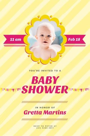 Designvorlage Baby Shower Invitation Adorable Child in Frame für Tumblr