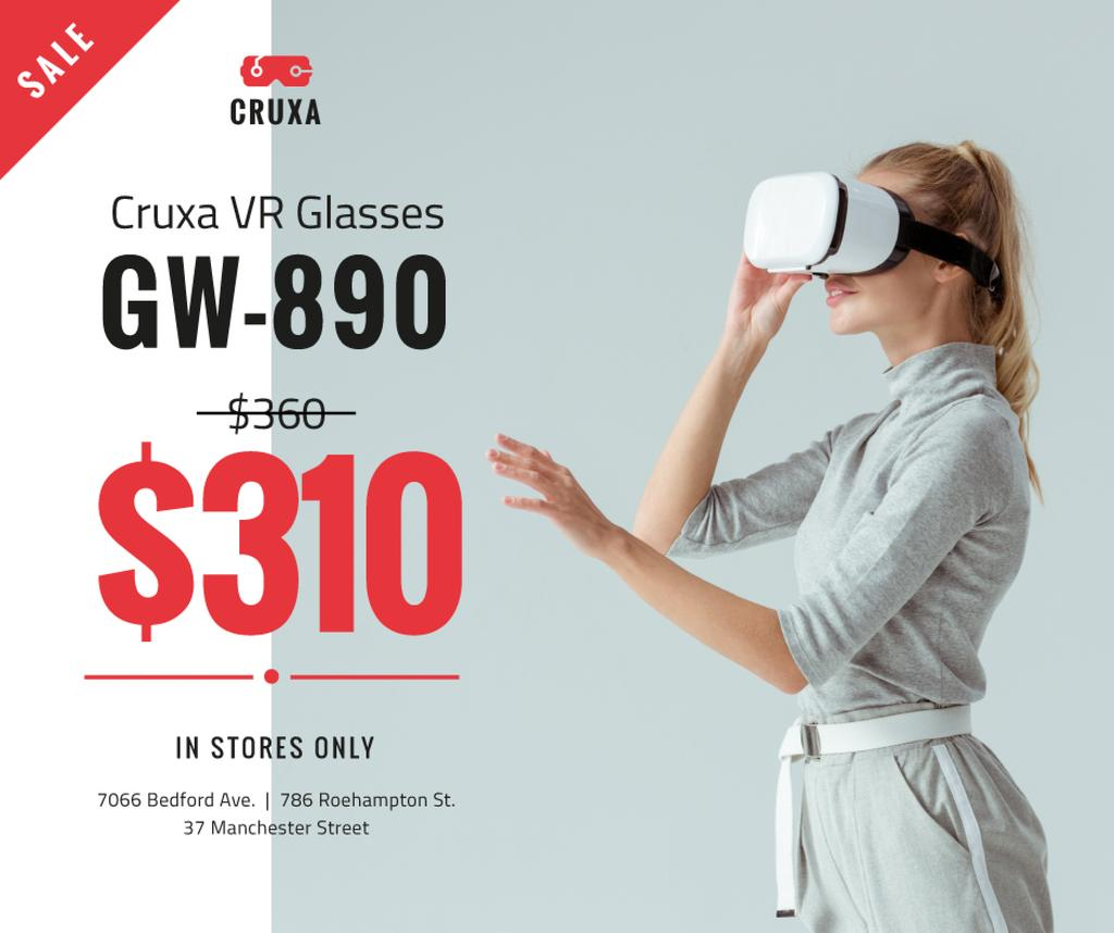 Gadgets Sale Woman Using VR Glasses — Modelo de projeto