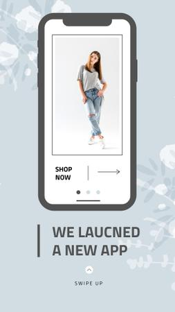 Template di design Online Shop Ad with Stylish Woman on Screen Instagram Story
