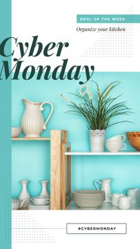 Cyber Monday Sale Kitchen utensils on shelves