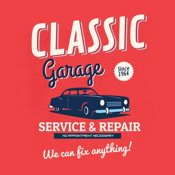 Classic garage illustration with vintage car