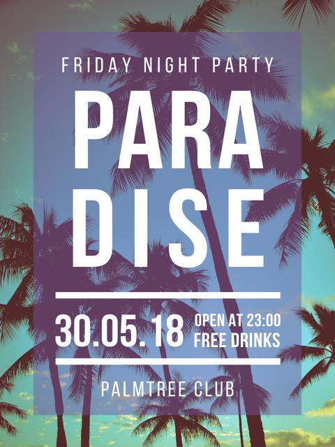 Night Party invitation on Tropical Palm Trees Poster US Modelo de Design
