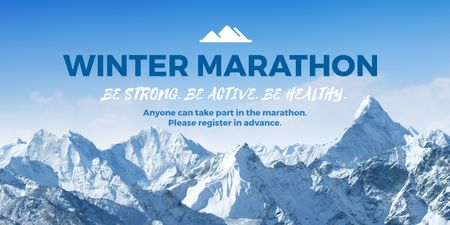Winter marathon announcement Twitter Modelo de Design