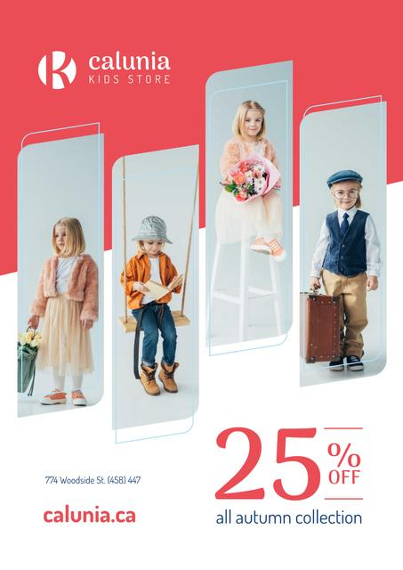 Kids Clothes Sale with Children in Pretty Outfits Poster Modelo de Design