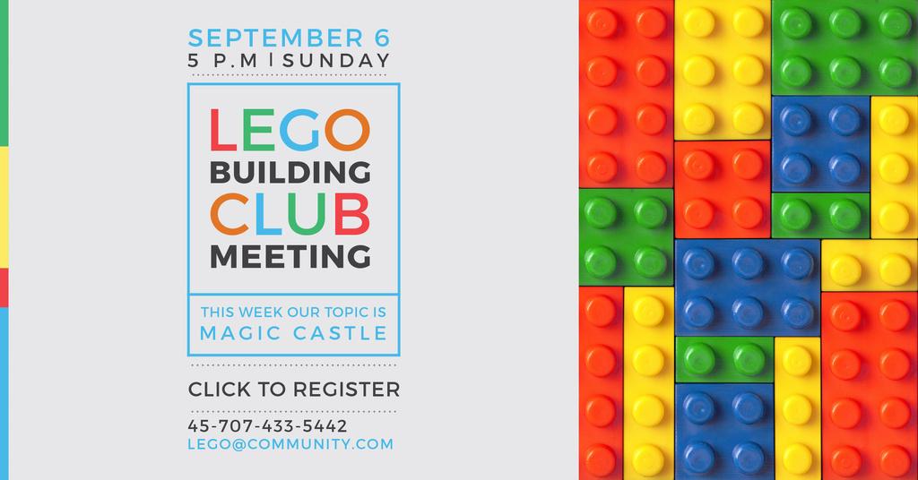 Ontwerpsjabloon van Facebook AD van Lego Building Club Meeting