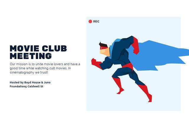 Movie club meeting with Superhero Gift Certificate – шаблон для дизайна
