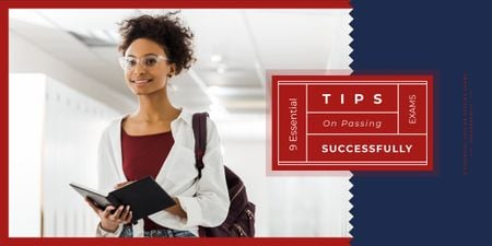 Passing Exams Tips Woman Holding Book Image Design Template