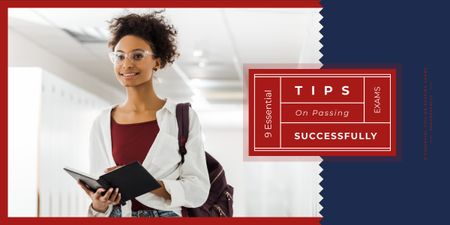 Passing Exams Tips Woman Holding Book Image Modelo de Design