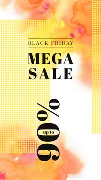 Black Friday Sale Yellow paint blots