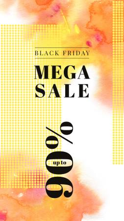 Designvorlage Black Friday Sale Yellow paint blots für Instagram Story